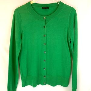 J. Crew Ladies Green Merino Wool Cardigan